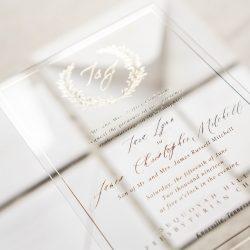 Acrylic and Gold Foil Luxury Wedding Invitation